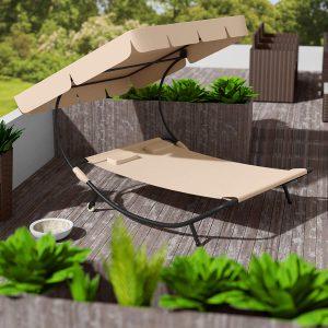 tectake 2 Places Bain de Soleil Chaise Longue de Jardin transat avec Pare-Soleil + 2 Coussins